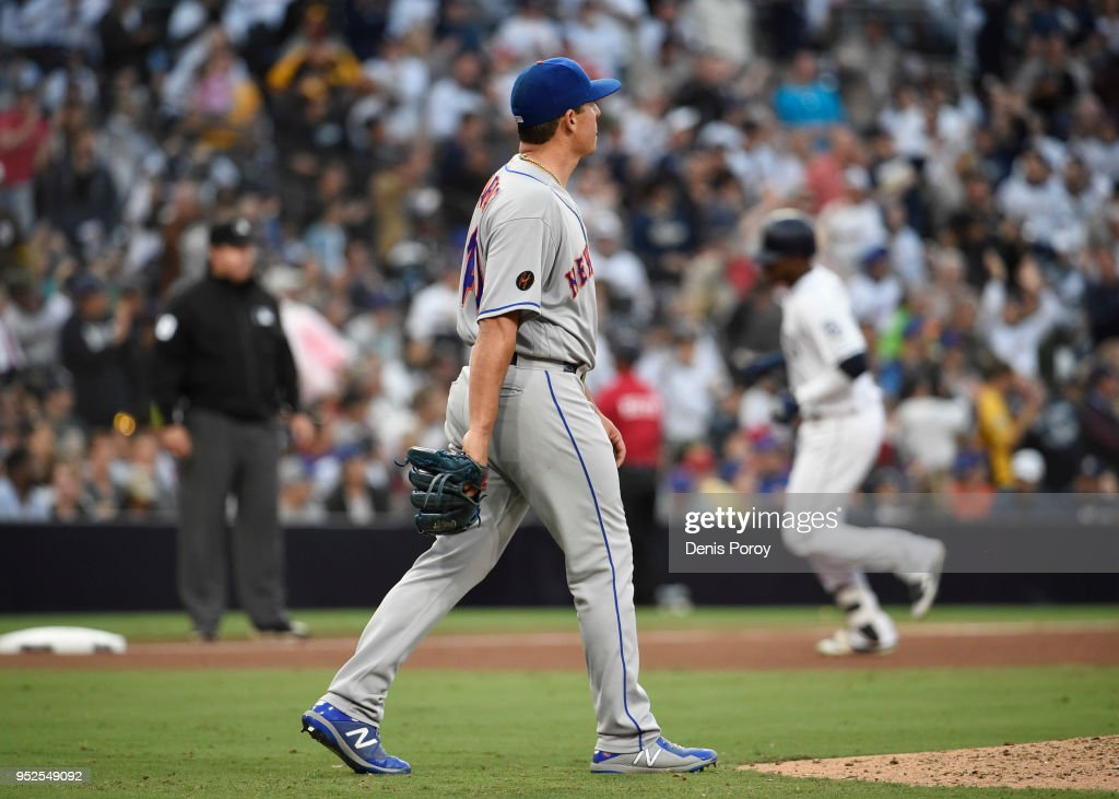 Jason Vargas #40 of the New York Mets walks back to the mound after giving up a three-run home run to Franchy Cordero #33 of the San Diego Padres during the fourth inning of a baseball game at PETCO Park on April 28, 2018 in San Diego, California.