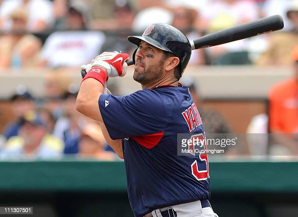 Jason Varitek of the Boston Red Sox bats against the Detroit Tigers during the spring training game at Joker Marchant Stadium on March 15 2011 in...