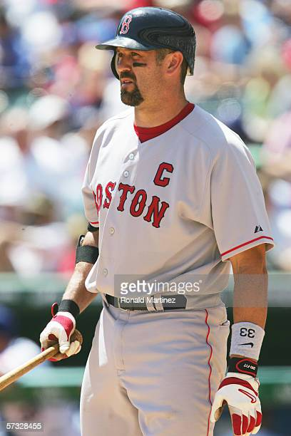Jason Varitek of the Boston Red Sox bats against the Texas Rangers during the Opening Day game at Ameriquest Field in Arlington on April 3 2006 in...