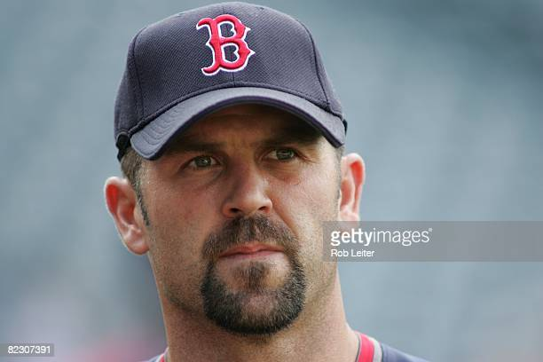 Jason Varitek of the Boston Red Sox during batting practice before the game against the Los Angeles Angels of Anaheim at Angel Stadium in Anaheim...