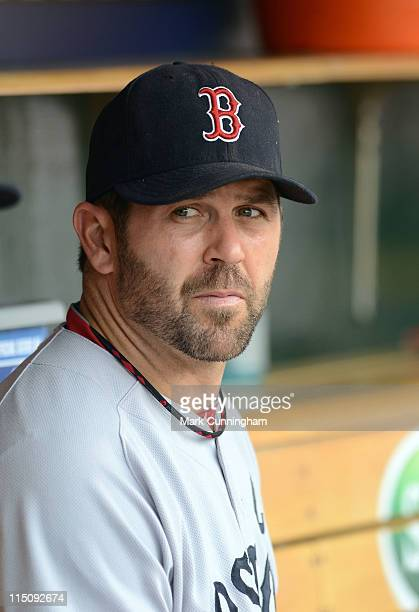 Jason Varitek of the Boston Red Sox looks on during the game against the Detroit Tigers at Comerica Park on May 29 2011 in Detroit Michigan The Red...