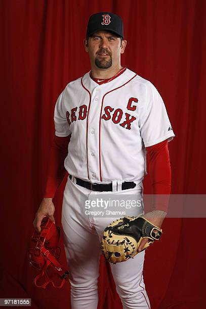 Jason Varitek of the Boston Red Sox poses during photo day at the Boston Red Sox Spring Training practice facility on February 28 2010 in Ft Myers...