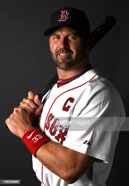 Jason Varitek of the Boston Red Sox poses for a portrait during the Boston Red Sox Photo Day on February 20 2011 at the Boston Red Sox Player...