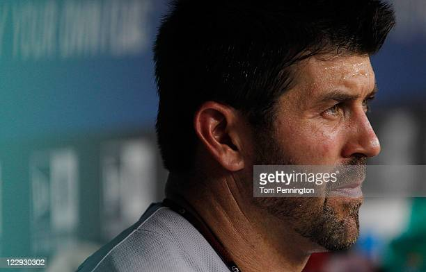 Jason Varitek of the Boston Red Sox sits in the dug out as the Red Sox take on the Texas Rangers at Rangers Ballpark in Arlington on August 24 2011...