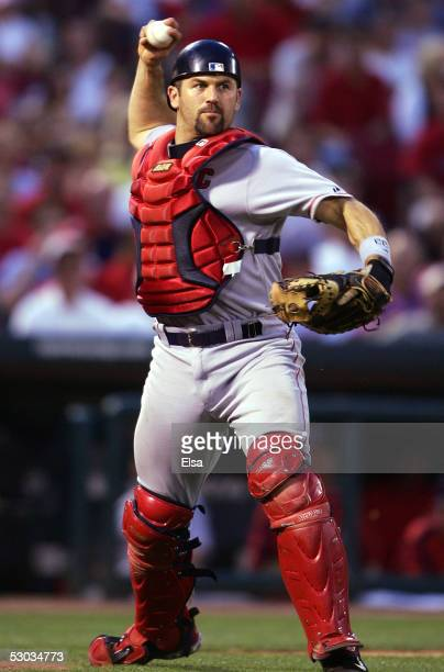 Jason Varitek of the Boston Red Sox throws the ball to first for an out against the St Louis Cardinals June 7 2005 at Busch Stadium in St Louis...