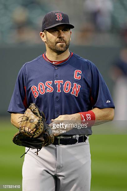 Jason Varitek of the Boston Red Sox walks in from the outfield after throwing before the start of the Red Sox game against the Baltimore Orioles at...
