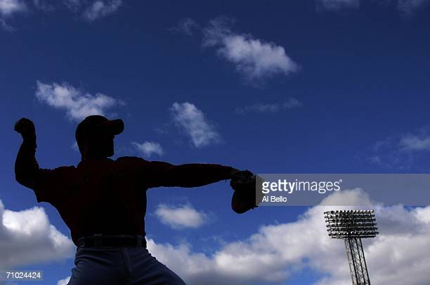 Jason Varitek of the Boston Red Sox warms up before the game against the New York Yankees on May 23, 2006 at Fenway Park in Boston, Massachusetts.