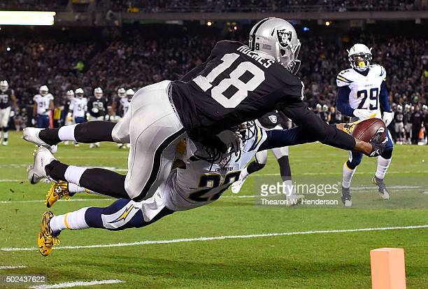 Jason Verrett of the San Diego Chargers breaks up this pass intended for Andre Holmes of the Oakland Raiders in the second quarter of their NFL...