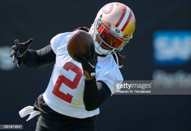 Jason Verrett of the San Francisco 49ers works out during training camp at SAP Performance Facility on July 31, 2021 in Santa Clara, California.