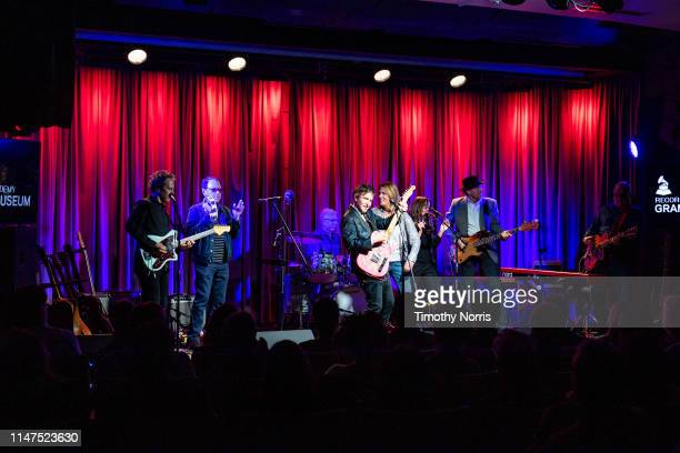 Jason Victor Danny Benair Dennis Mehaffey Steve Wynn Vicki Peterson Susanna Hoffs Mark Walton and Matt Piucci perform during The Drop 3x4 at The...
