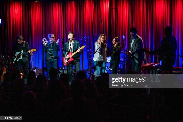 Jason Victor Danny Benair Steve Wynn Vicki Peterson Susanna Hoffs Mark Walton and Matt Piucci perform during The Drop 3x4 at The GRAMMY Museum on May...