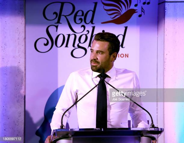 """Jason Wahler speaks onstage during a private event with the cast of MTV's """"The Hills"""" hosted by Cure Addiction Now & The Red Songbird Foundation on..."""