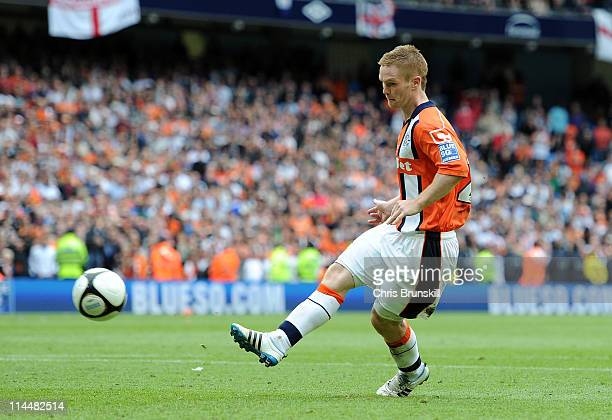 Jason Walker of Luton Town misses a penalty in the shootout of the Blue Square Bet Premier League Play Off Final between AFC Wimbledon and Luton Town...