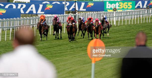 Jason Watson riding Dejame Paso win The Fitzdares Loves A Canny Punter Handicap at Sandown Park Racecourse on June 12, 2021 in Esher, England. Due to...