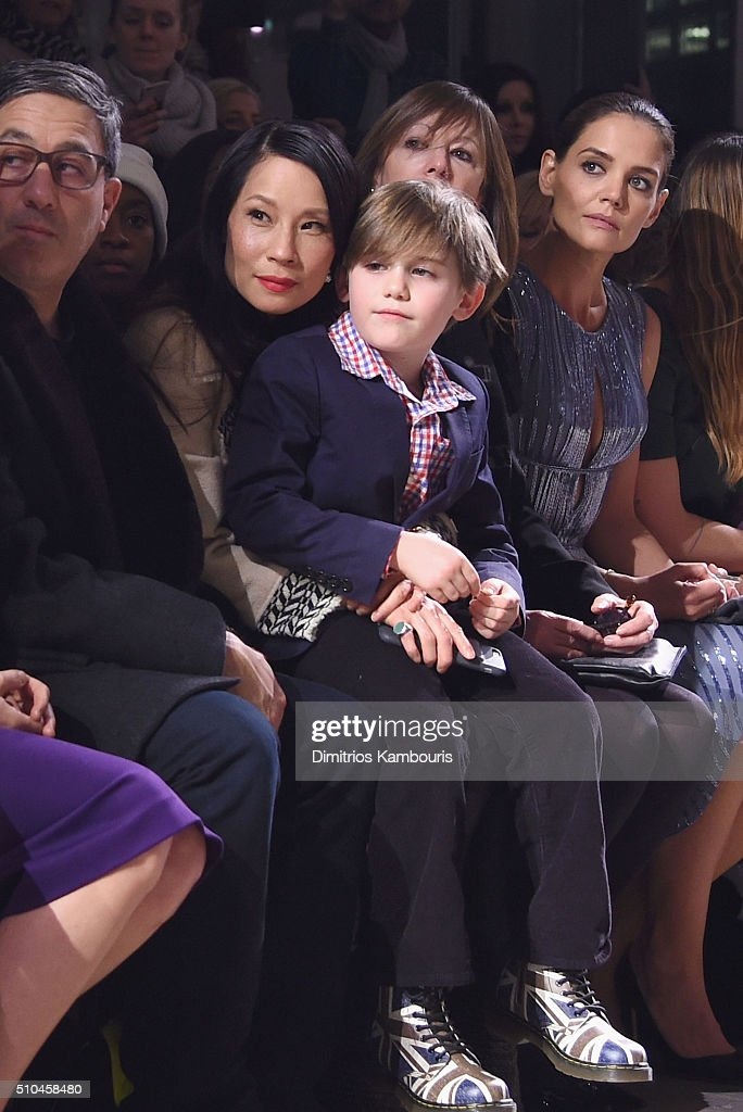 Jason Weinberg, Lucy Liu, Jasper Weinberg, Jane Rosenthal and Katie Holmes attend the Zac Posen Fall 2016 fashion show during New York Fashion Week at Spring Studios on February 15, 2016 in New York City.