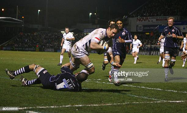 Jason White Sale Captain dives over to score a try during the Guinness Premiership match between Bristol Rugby and Sale Sharks at the Memorial...