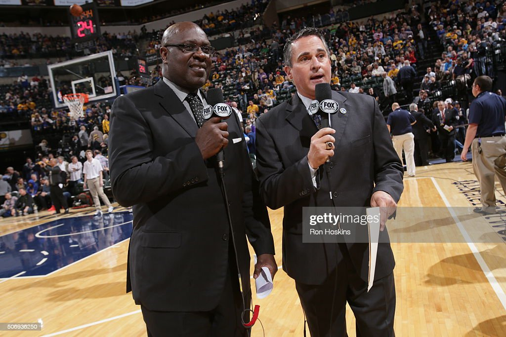 Jason Whitlock and Ryan Fowler reporters of FOX Sports report during the Golden State Warriors against the Indiana Pacers game on December 8, 2015 at Bankers Life Fieldhouse in Indianapolis, Indiana.