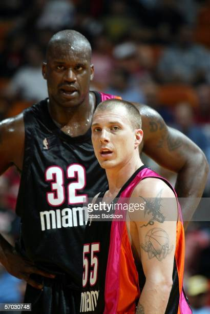 Jason Williams and Shaquille O'Neal of the Miami Heat take a breather while playing against the Washington Wizards on March 8 2006 at American...