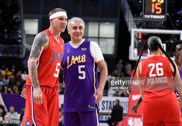 Jason Williams Marc Lasry and Dascha Polanco during the NBA AllStar Celebrity Game 2018 presented by Ruffles at Verizon Up Arena at LACC on February...