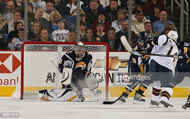 Jason Williams of the Atlanta Thrashers scores a first period goal against Ryan Miller of the Buffalo Sabres on November 7 2008 at HSBC Arena in...