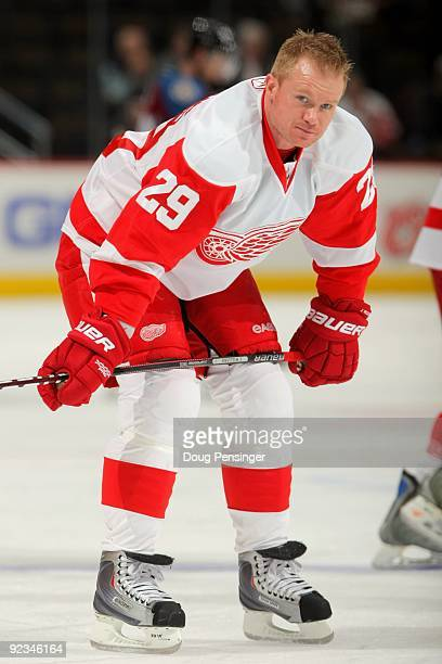 Jason Williams of the Detroit Red Wings warms up prior to facing the Colorado Avalanche during NHL action at the Pepsi Center on October 24 2009 in...