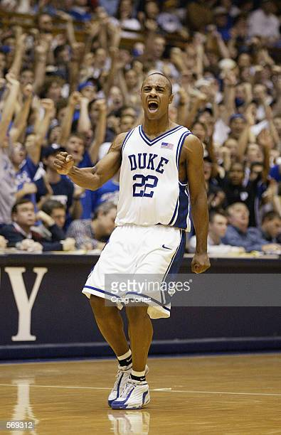 Jason Williams of the Duke Blue Devils celebrates during the game against the Wake Forest Demon Deacons at Cameron Indoor Stadium in Durham North...