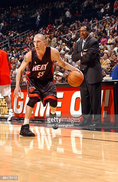 Jason Williams of the Miami Heat handles the ball during the game against the Atlanta Hawks on November 30 2005 at Philips Arena in Atlanta Georgia...
