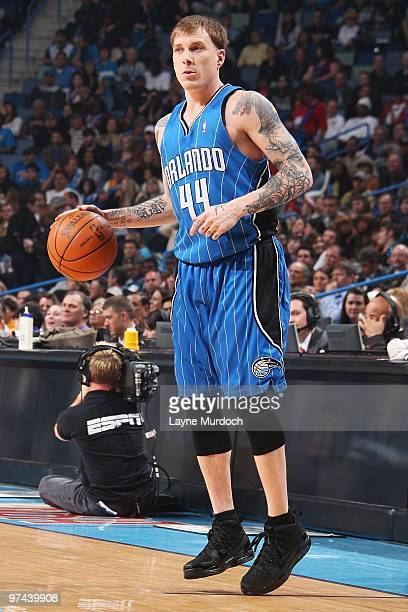 Jason Williams of the Orlando Magic handles the ball against the New Orleans Hornets during the game on February 26 2010 at the New Orleans Arena in...