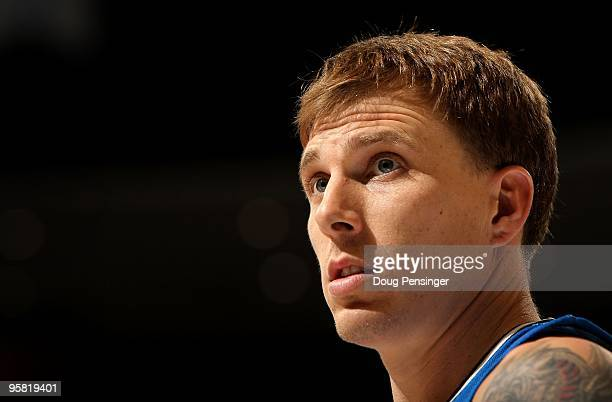 Jason Williams of the Orlando Magic looks on during a break in the action against the Denver Nuggets during NBA action at Pepsi Center on January 13...