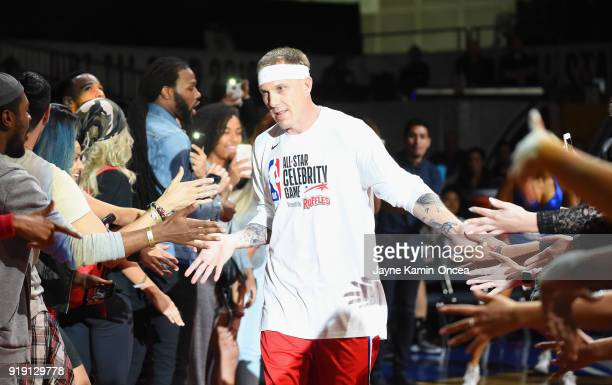 Jason Williams takes the floor during player introductions prior to the 2018 NBA AllStar Game Celebrity Game at Los Angeles Convention Center on...