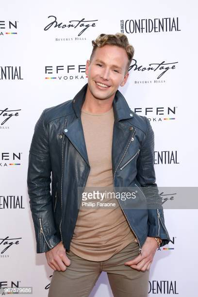 Jason Wimberly attends the Los Angeles Confidential Celebration for Portraits of Pride with GLAAD and Laverne Cox on June 4 2018 in Beverly Hills...