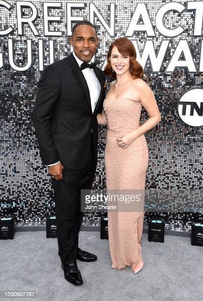 Jason Winston George and Elizabeth McLaughlin attend the 26th Annual Screen Actors Guild Awards at The Shrine Auditorium on January 19 2020 in Los...