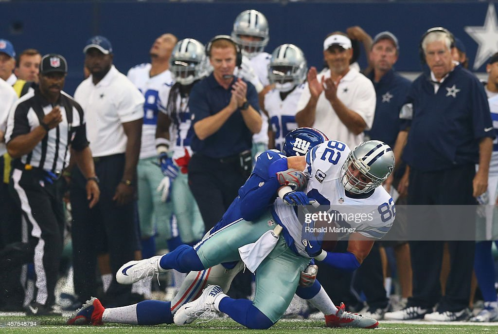Jason Witten #82 of the Dallas Cowboys at AT&T Stadium on October 19, 2014 in Arlington, Texas.