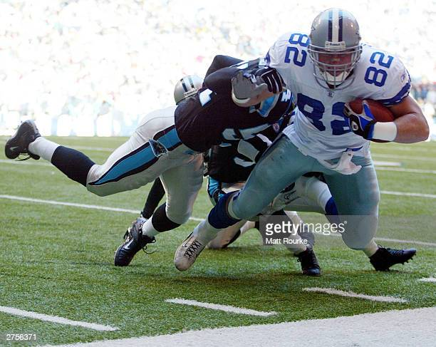 Jason Witten of the Dallas Cowboys is hit out of bounds by Carolina Panthers Will Witherspoon at Texas Stadium on November 23 2003 in Irving Texas