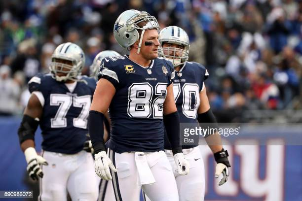 Jason Witten of the Dallas Cowboys looks on against the New York Giants during the second half in the game at MetLife Stadium on December 10 2017 in...