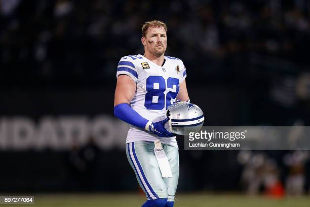 Jason Witten of the Dallas Cowboys looks on during the game against the Oakland Raiders at OaklandAlameda County Coliseum on December 17 2017 in...