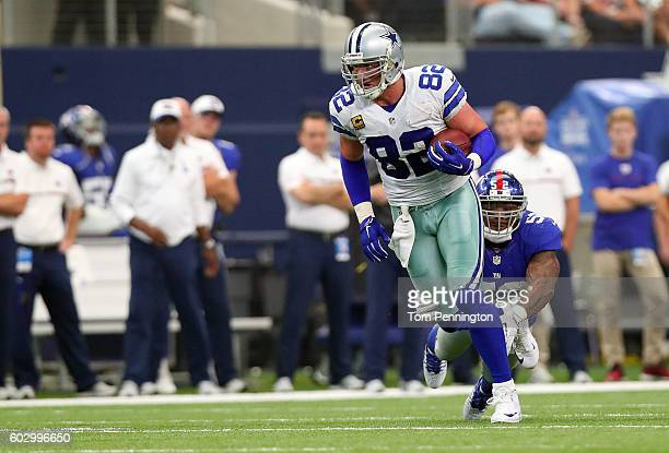 Jason Witten of the Dallas Cowboys runs after catching a pass against the New York Giants at ATT Stadium on September 11 2016 in Arlington Texas