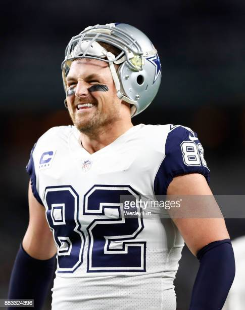 Jason Witten of the Dallas Cowboys smiles during warmups before the football game against the Washington Redskins at ATT Stadium on November 30 2017...