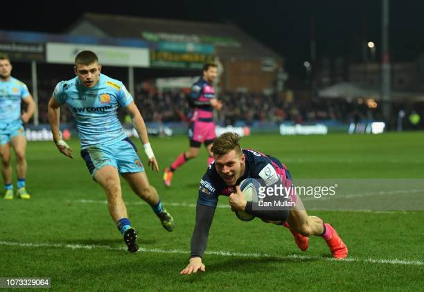 Jason Woodward of Gloucester Rugby goes over for his sides first try during the Champions Cup match between Gloucester Rugby and Exeter Chiefs at...