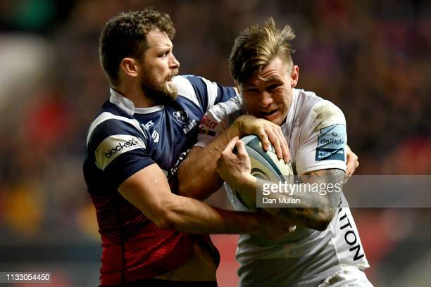 Jason Woodward of Gloucester Rugby is tackled by Luke Morahan of Bristol Bears during the Gallagher Premiership Rugby match between Bristol Bears and...