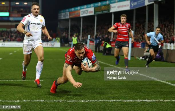 Jason Woodward of Gloucester Rugby scores a try during the Gallagher Premiership Rugby match between Gloucester Rugby and Exeter Chiefs at Kingsholm...