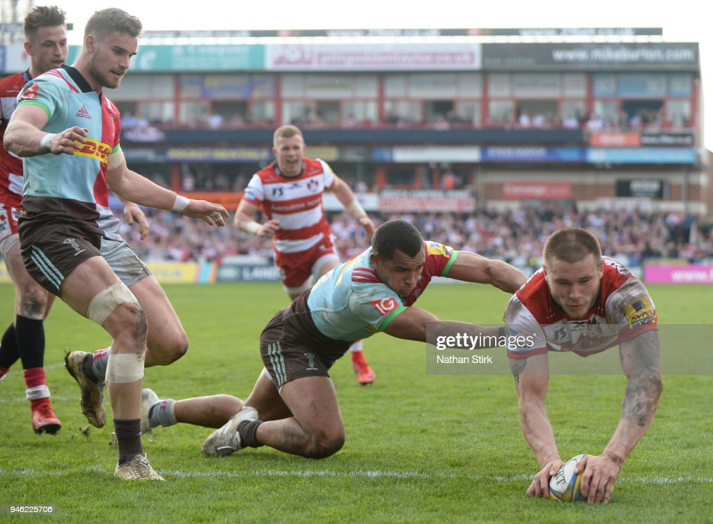 Jason Woodward of Gloucester scores a try during the Aviva Premiership match between Gloucester Rugby and Harlequins at Kingsholm Stadium on April 14, 2018 in Gloucester, England.
