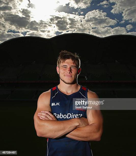 Jason Woodward of the Rebels poses during a Melbourne Rebels Super Rugby training session at AAMI Park on February 6 2014 in Melbourne Australia