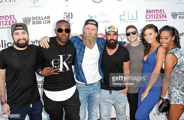 Jason Zuccari Vice City Chris Stoikos Mike D'Agostini Jarred Zuccari Amber Borzotra and Jaquia Marie attend the World's Largest Pizza Festival on...