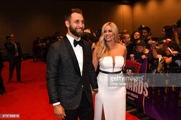Jason Zucker of the Minnesota Wild and Carly Zucker arrive at the 2018 NHL Awards presented by Hulu at the Hard Rock Hotel Casino on June 20 2018 in...