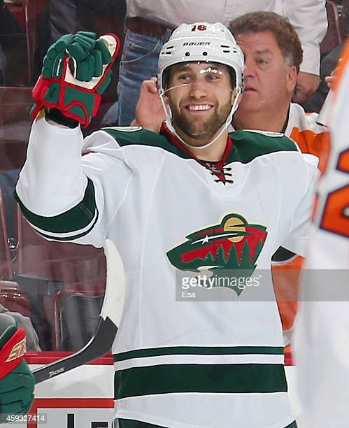 Jason Zucker of the Minnesota Wild celebrates after he scored the game winning goal in the third period against the Philadelphia Flyers on November...