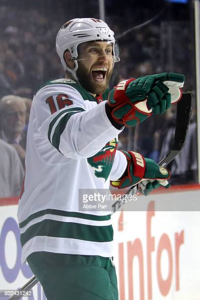 Jason Zucker of the Minnesota Wild celebrates after scoring a goal in the third period against the New York Islanders during their game at Barclays...