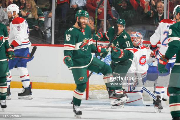 Jason Zucker of the Minnesota Wild celebrates after scoring a goal against the Montreal Canadiens during the game at the Xcel Energy Center on...