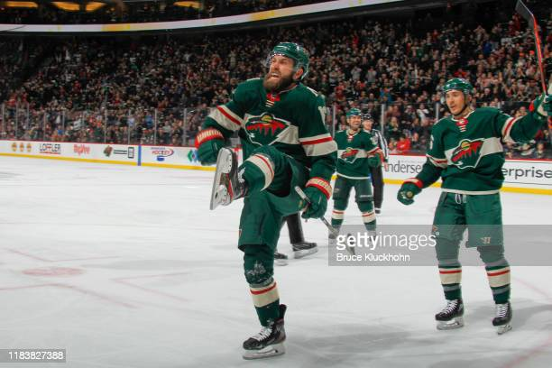 Jason Zucker of the Minnesota Wild celebrates after scoring a goal against the Colorado Avalanche during the game at the Xcel Energy Center on...