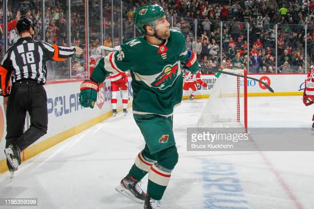 Jason Zucker of the Minnesota Wild celebrates after scoring a goal against the Detroit Red Wings during the game at the Xcel Energy Center on January...